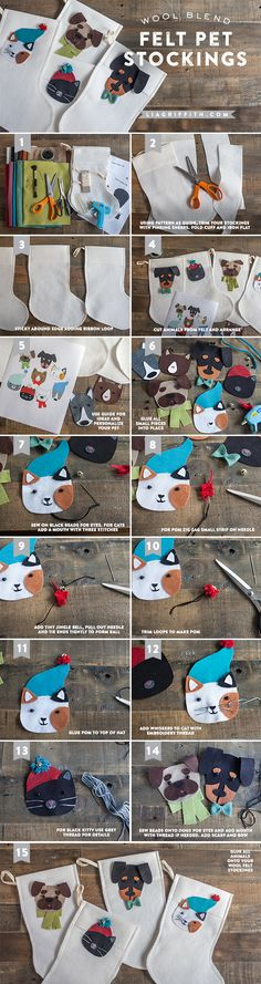 We have designed a set of pet faces that are mix and match so you can make your own dog or cat from wool blend felt and they can each have their very own stocking. How cute is that?