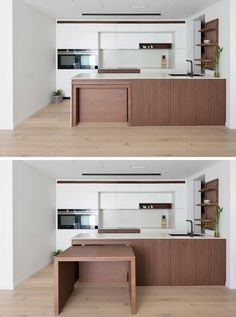This modern kitchen features custom stained American Oak, corian countertops, and pull-out dining table, which sits flush within the kitchen bench and extends into a large dining table. Kitchen Bar Design, Home Decor Kitchen, Kitchen Furniture, Kitchen Interior, Kitchen Island Dining Table, Kitchen Benches, Kitchen Sink, Küchen In U Form, Corian Countertops