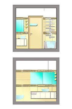 Distribuzione interna e arredo nuova villa a schiera - Prospetti bagno padronale - Maria Teresa Azzola Designer - Villa d'Almè (BG) 2008-2010