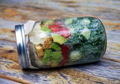 Chicken Caesar Kale Mason Jar Salad