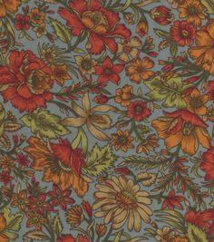 Silky Prints - Crepe Fall Floral Orange