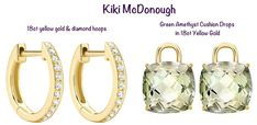 Kate does it again with Kiki McDonough's 18K gold and diamond hoops, paired with cushion cut green amethyst drops. www.diamonds.pro