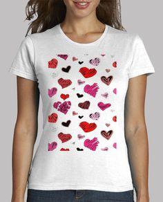 Camiseta de  Chica manga corta, Corazones-1 Disponible en 9 colores por 19,90€