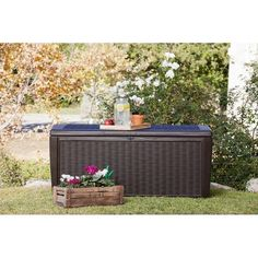 Keter Sumatra 135 Gallon All-Weather Rattan Style Outdoor Storage Deck Box - 220941 Deck Storage Bench, Shed Storage, Outdoor Storage, Storage Boxes, Garden Coffee Table, Outdoor Coffee Tables, Outdoor Benches, Farm Style Table, Garden Tool Organization
