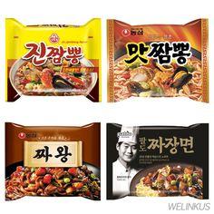 Korean Best Noodles Jin Jjambbongx4, Mat Jjambbongx2, Jjawangx2, Paldo Jjajangx2 #OttogiNongShimPaldo