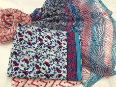 Printed suit blue Block Print suit set with chiffon dupatta Whatsapp Silk Anarkali Suits, Blue Block, Churidar, Daily Wear, Designer Dresses, Chiffon, Shirt Dress, Boutique, Dress Designs