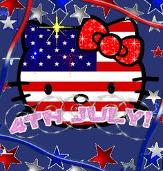 4th of July Hello Kitty glitter usa flag america patriotic red white blue 4th of july hello kitty independence day