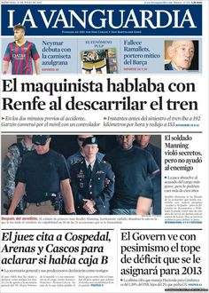 Los Titulares y Portadas de Noticias Destacadas Españolas del 31 de Julio de 2013 del Diario La Vanguardia ¿Que le pareció esta Portada de este Diario Español?
