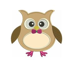 Owl Applique with with a fany bow Machine Embroidery Digitized Design Pattern - Instant Download - comes in three sizes 4x4 , 5x7, 6x10 hoops