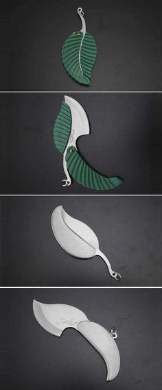 Leaf Design Pocket Knife with Keychain