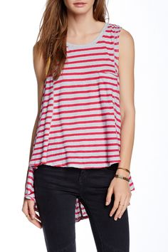 Striped Beach House Linen Blend Tank by Free People on @nordstrom_rack