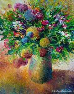 Boom Goes The Bouquet- by Iris Scott, finger painter. IrisScottPrints.com