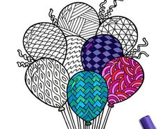 Balloons - PDF Zentangle Coloring Page
