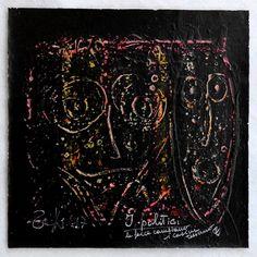 """G.A.Zanussi, """"i politici - le facce cambiano i casini restano"""", arte contemporanea quadro 29x29, opera unica su tela, 2017"""