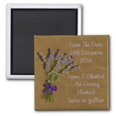 Lavender Flower Spray Vintage inspired Design   A vintage inspired beautiful spray of lavender flowers tied up in a purple bow on a distressed brown paper look background ; your guests are bound to be impressed with these save the date magnets.