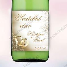 Etiketa na víno ZLATÉ PRSTENY 9 x 10 cm - zlatá (6 ks/bal) - Zlatá romance - Ukázky a trendy - Svatební dekorace