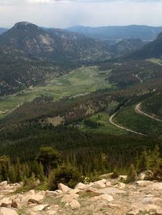 This is an iconic view inside Rocky Mountain National Park and how Trail Ridge Road winds around the mountain.