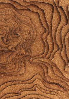 Laser cut cork topographic model