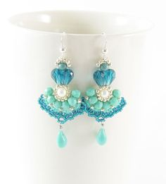 Long earrings, beadwork, aqua turqouise blue,handmade, with teardrop and freshwater pearl.