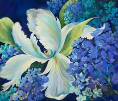 Beautiful white tulips , pastel painting , blue painting by Nel Whatmore - Swan Lake Pastel Courses