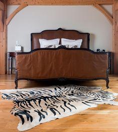 Wooden Bed on Sleek Wooden Floor with Wood Nightstand