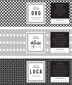 Packaging box labels by Mia Sara Design Studio, for the Italian based For My Friends online retailer of gourmet food and beverage. Olive Oil, Amaro Elixer, and Espresso.