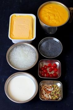Mango falooda recipe, a delicious summer dessert preparation with faluda sev, mango puree, mango icecream & falooda sev. How to make mango falooda ice cream Mango Dessert Recipes, Indian Dessert Recipes, Mango Recipes, Indian Sweets, Köstliche Desserts, Ice Cream Recipes, Sweet Recipes, Delicious Desserts, Healthy Desserts