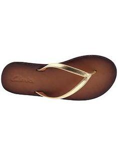 Clarks leather flip-flops