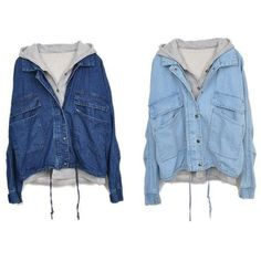 The Oversized Denim Jacket (€36) ❤ liked on Polyvore featuring outerwear, jackets, tops, coats, blue jean jacket, blue jackets, denim jacket, oversized jacket and oversized jean jacket