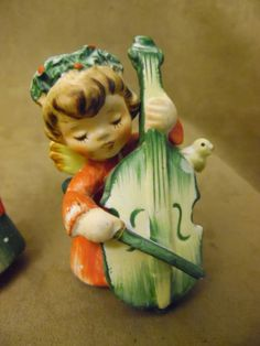 Lot-of-4-Vintage-LEFTON-1259-Musical-Instrument-Angel-Figurines-Yellow-Bird-CUTE