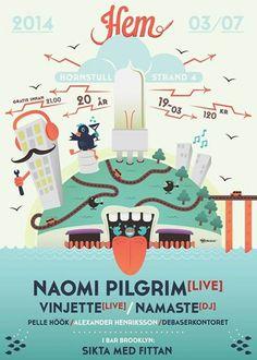 HEM | NAOMI PILGRIM + VINJETTE #DebaserStrand #posters #poster #concert #music #illustration #art #event