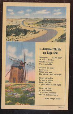 Summer Thrills On Cape Cod Poem Massachusetts Vintage Linen Postcard-bbb134