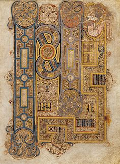 Book of Kells, an illuminated manuscript Gospel book in Latin, containing the four Gospels of the New Testament together with various prefatory texts and tables. It was created by Celtic monks ca. 800 or slightly earlier. Book Of Kells, Medieval Manuscript, Medieval Art, Renaissance Art, Illuminated Letters, Illuminated Manuscript, Arte Latina, Eslava, Gospel Of Mark