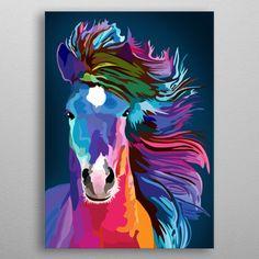 pop art horse Art Print by Ancello - X-Small Framed Art Prints, Poster Prints, Horse Posters, Art Posters, Kunst Poster, Horse Art, Art Auction, Animal Paintings, Wood Wall Art