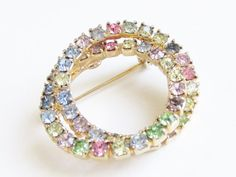 Brooch Vintage Multi Color Pastel Rhinestone by GrandVintageFinery, $12.95