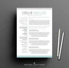 Nice Resume Template 3page | Aqua  CreativeWork247 - Fonts, Graphics, Theme...