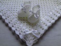 Crochet bebé manta y escarpines regalo Set bebé BAUTIZO