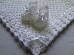 Crochet Baby Blanket and Baby Booties Set Gift Baby Christening Baptism Baby White Afghan