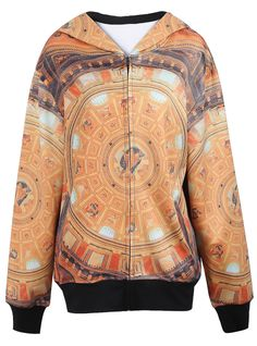Yellow The Madonna Court Jesus Print Hood Zipper Sweatshirt