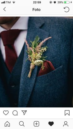 The groom's boutonniere is one of the few accessories for the groom. The small boutonniere declares the identity of the groom. The groom's boutonniere should be based on simplicity and smallness. Remember, the boutonniere and Read more… Wedding Men, Dream Wedding, Fall Wedding Suits, Wild Flower Wedding, Vintage Wedding Suits, Gothic Wedding, Blue Tweed Wedding Suits, Groom Suit Vintage, Wedding Bonfire