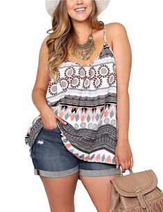Women's Bohemian Style Printing V Neck Loose Camisole Shirt Gray L - Yesfashion.com in Free Shipping Summer Outfits Casual For Curvy Girls, Beach Outfits Women Plus Size, Plus Size Holiday Outfits Summer, Plus Size Fashion For Women Summer, Plus Size Beach Wear, Beach Wear For Women Outfits, Curvy Fashion Summer, Summer Cruise Outfits, Size 14 Fashion