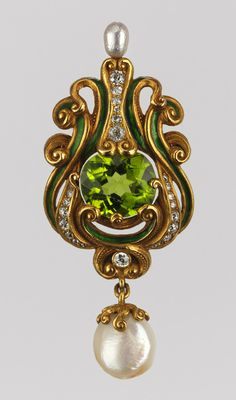 Belle Epoque. Gold, Peridot, Pearl, Enamel and Diamond Brooch, American, Marcus & Company, c1900.