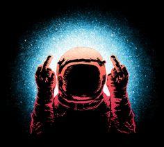 Negative Spaceman Astronaut Middle Fingers T-Shirt