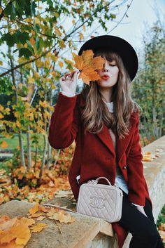 red coat black hat | Jenny Cipoletti of Margo & Me