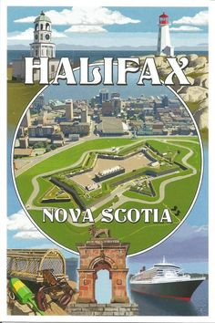 size: Art Print: Halifax, Nova Scotia - Montage by Lantern Press : Nova Scotia Travel, Montage Art, Famous Structures, Poster City, Canadian Travel, Cruise Destinations, Canadian History, Vintage Travel Posters, Lantern