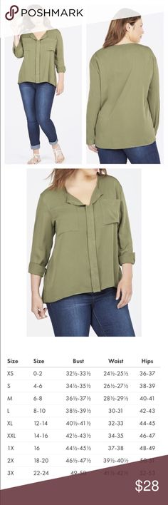 NWT Olive Green Oversized Dolman Top Plus Size 1X An oversized blouse adds the perfect feminine touch to any look. With a flowy and soft silhouette and dual front pockets, you'll be able to wear this beauty for any occasion! Fabric Type: 100% Viscose Fabric Care: Machine wash cold with like colors inside out. Do not bleach. Tumble dry low. Iron Medium. Imported JustFab Tops