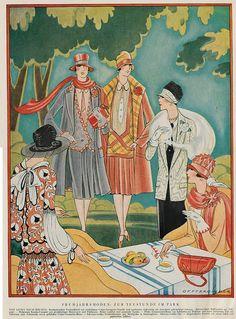 illustrirte zeitung 1927 ill  Frühjahrsmode  teestunde im park by janwillemsen on Flickr.