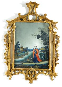 A fine Chinese export reverse-painted mirror picture last quarter century Within a later George III style giltwood frame. height of frame 32 in. width 22 in.