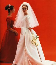 Grace Coddington, 1960s bride wedding gown dress long column with bustle train elegant audrey look vintage fashion red bridesmaid dress