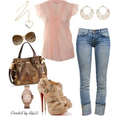 Pale Pink By Dlp22 On Polyvore Dress Up Jeans Fashion